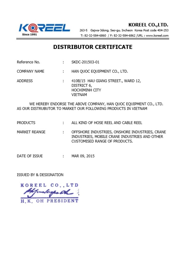 Chứng nhận phân phối rulo koreel Hàn Quốc tại Việt Nam